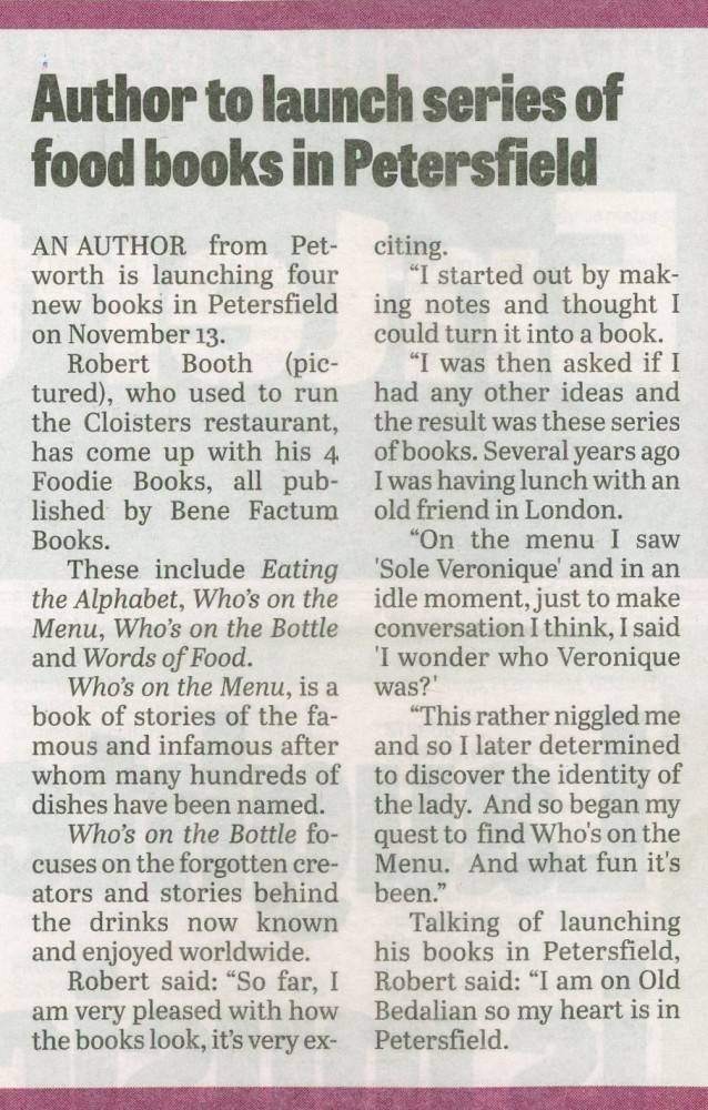 Robert Booth Petersfield Press 6Oct2014